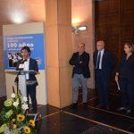 El alcalde de Huesca interviene en el acto de inauguración. I.C.